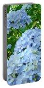 Green Nature Landscape Art Prints Blue Hydrangeas Flowers Portable Battery Charger