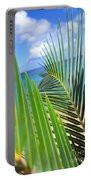 Green Palm Leaves Portable Battery Charger