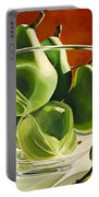 Green Pears In Glass Bowl Portable Battery Charger
