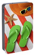 Green Sandals On Beach Towel Portable Battery Charger