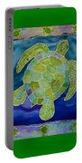 Green Sea Turtle Silk Painting Portable Battery Charger