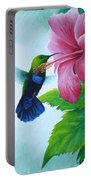 Green-throated Carib And Pink Hibiscus Portable Battery Charger