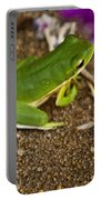 Green Tree Frog And Flowers Portable Battery Charger
