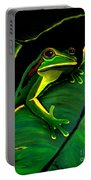 Green Tree Frog And Leaf Portable Battery Charger