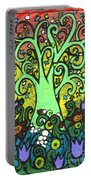 Green Tree With Purple Tulips Portable Battery Charger