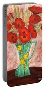 Green Vase And Poppies Portable Battery Charger