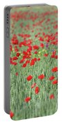 Green Wheat And Red Poppy Flowers Field Portable Battery Charger