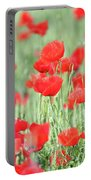 Green Wheat And Red Poppy Flowers Portable Battery Charger