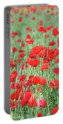 Green Wheat With Poppy Flowers Portable Battery Charger