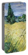 Green Wheatfield With Cypress Portable Battery Charger