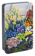 Greenhouse Flowers With Blue And Red Portable Battery Charger