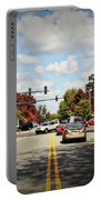 Greensboro Georgia Corner Of Main Street And Broad Street Fall Leaves Greensboro Georgia Art Portable Battery Charger