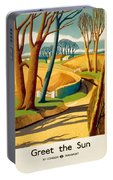 Greet The Sun By London Underground - Metro, Suburban - Retro Travel Poster - Vintage Poster Portable Battery Charger