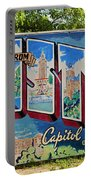 Greetings From Austin Capital Of Texas Postcard Mural Portable Battery Charger