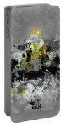 Grey And Yellow Abstract Cityscape Art Portable Battery Charger