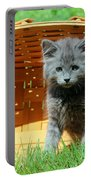 Grey Fluffy Kitten In Market Basket Portable Battery Charger