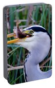 Grey Heron With Fish Portable Battery Charger