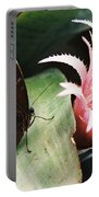Grey Pansy Pink Bromeliad Portable Battery Charger