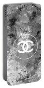 Grey White Black Chanel Logo Print Portable Battery Charger