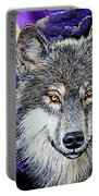 Grey Wolf And Full Moon Portable Battery Charger