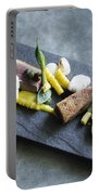 Grilled Pork Sour Cream And Vegetables On Modern Grey Slate Portable Battery Charger