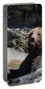Grizzlies Snacking On Things They Find In A River Portable Battery Charger