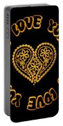Groovy Golden Heart And I Love You Portable Battery Charger