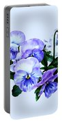 Group Of Purple Pansies And Leaves Portable Battery Charger