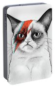 Grumpy Cat As David Bowie Portable Battery Charger