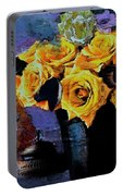 Grunge Friendship Rose Bouquet With Candle By Lisa Kaiser Portable Battery Charger