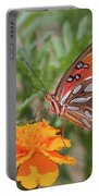Gulf Fritillary On Marigold Portable Battery Charger