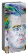 Gustav Mahler - Watercolor Portrait.3 Portable Battery Charger