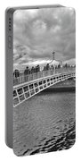 Ha' Penny Bridge In Black And White Portable Battery Charger