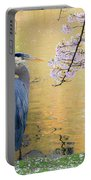 Haiku, Heron And Cherry Blossoms Portable Battery Charger