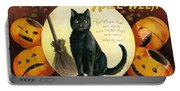 Halloween Greetings With Black Cat And Carved Pumpkins Portable Battery Charger