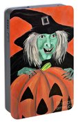 Halloween Witch And Pumpkin Art Portable Battery Charger