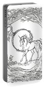 Haloed Unicorn In The Woods Portable Battery Charger