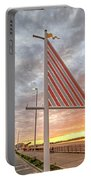 Hampton Beach Sunrise Hampton Beach State Park Hampton Nh Flag Portable Battery Charger