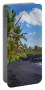 Hana Bay Palms Portable Battery Charger by Inge Johnsson