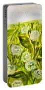 Hand Painted Picture, Meadow With White Dandelines Portable Battery Charger
