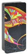 Hand Painted Silk Scarf Dragon On Black Portable Battery Charger