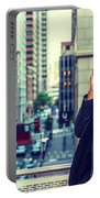 Happy African American Businessman Working In New York Portable Battery Charger