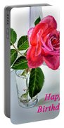 Happy Birthday Card Rose  Portable Battery Charger