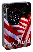 Happy Holidays Flag 1 Portable Battery Charger