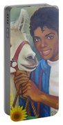 Happy Michael Jackson With His Pet Llama  Portable Battery Charger
