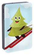 Happy Pine Tree On Ski Portable Battery Charger