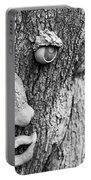 Happy Tree In Black And White Portable Battery Charger
