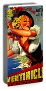 Happy Woman With Flowers, Festival In Ventimiglia, Italy Portable Battery Charger