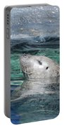 Harbor Seal Poking His Head Out Of The Water Portable Battery Charger