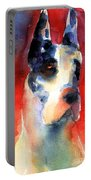 Harlequin Great Dane Watercolor Painting Portable Battery Charger by Svetlana Novikova